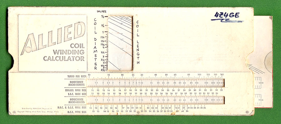 a photocopied coil winding slide chart